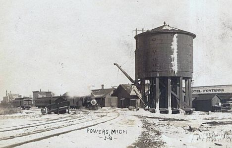 CNW Powers MI Depot and Water Tower